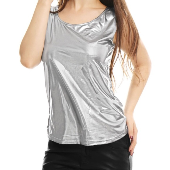 8ec4608077cc69 Allegra K Women s Sleeveless Metallic Tank Top L